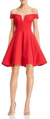 Aqua Off-the-Shoulder Scuba Dress - 100% Exclusive