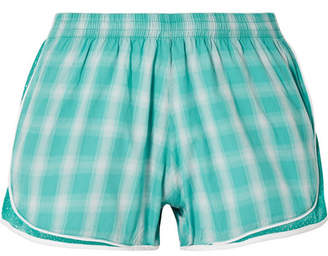 Aina Paradised Mesh-trimmed Checked Cotton-gauze Shorts - Teal