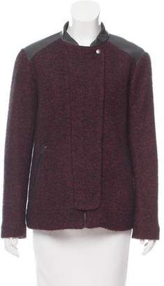 Comptoir des Cotonniers Leather Trimmed Tweed Jacket