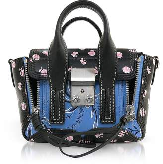 3.1 Phillip Lim Black Multi Printed Leather Pashli Nano Satchel