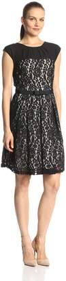 Julian Taylor Women's Cap Sleeve Bow Waist Lace Fit and Flare Dress, Black/Nude