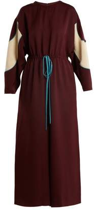 Valentino Drawstring Waist Wide Leg Faille Jumpsuit - Womens - Burgundy Multi