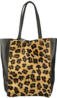 Brix And Bailey Leopard Animal Print Leather Shopping Tote Bag Handbag