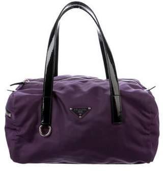 Prada Patent Leather-Trimmed Tessuto Bag silver Patent Leather-Trimmed Tessuto Bag