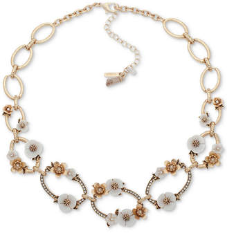 "lonna & lilly Gold-Tone Pave & Imitation Pearl Flower Collar Necklace, 16"" + 3"" extender"