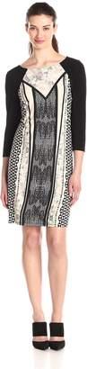 MSK Women's 3/4 Sleeve Printed Shift Dress