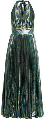 Maria Lucia Hohan Gwen Deep V Neck Pleated Lame Gown - Womens - Multi