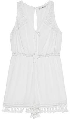 Alice + Olivia (アリス オリビア) - Alice+olivia Tassel-Trimmed Lace-Paneled Georgette Playsuit