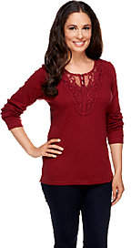 Denim & Co. Long Sleeve Ribbed Henley withLace Trim
