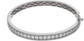 Swarovski Emotions Sterling Silver Hinged Bangle Bracelet - Made with Cubic Zirconia