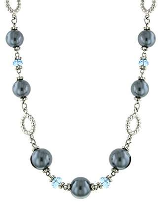 1928 Jewelry Silver-Tone Light Blue Bead and Grey Simulated Pearl Strand Necklace 18 Inch of 46cm