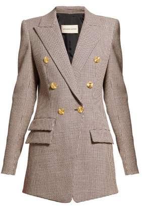 Alexandre Vauthier Gun Club Check Double Breasted Longline Blazer - Womens - Burgundy Multi