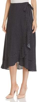Three Dots Polka-Dot Midi Wrap Skirt