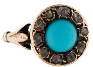 Ring 14K Turquoise & Diamond Slice Victorian