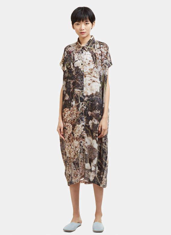 Anntian Floral Print Button Down Silk Dress in Multi
