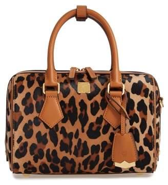 MCM Small Boston Leopard Calf Hair Bowler Bag