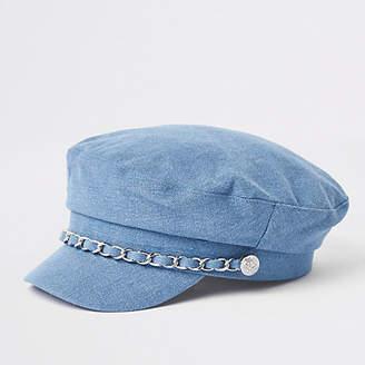 River Island Girls blue denim chain trim baker boy hat