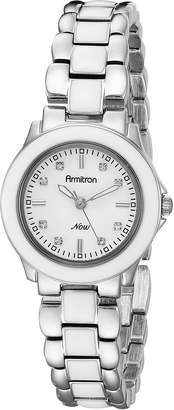 Swarovski Armitron Women's 753888WTSVWT Crystal Silver-Tone and Enamel Bracelet Watch
