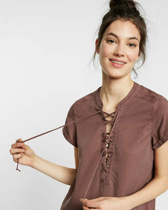 Express Short Sleeve Lace-Up Tee
