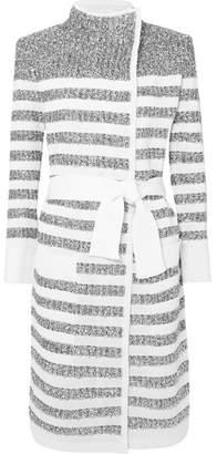 Balmain Belted Striped Metallic Knitted Cardigan - White