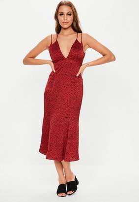 28fc8cc8780a Missguided Red Polka Dot Cross Back Midi Dress