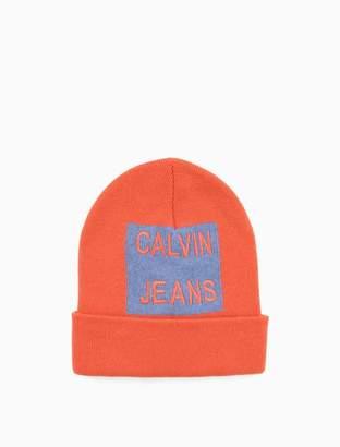 c7241fe2158 Calvin Klein wool cashmere stacked logo beanie
