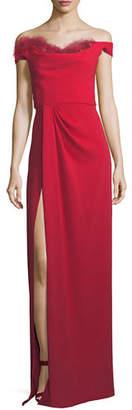 Marchesa Off-the-Shoulder Crepe High-Slit Gown