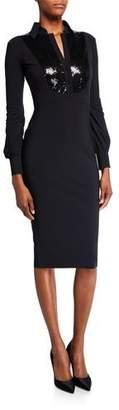 Chiara Boni Sequin-Bib Long-Sleeve Tuxedo Dress