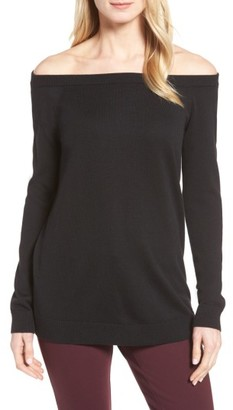 Petite Women's Halogen Cotton Blend Off The Shoulder Sweater $69 thestylecure.com