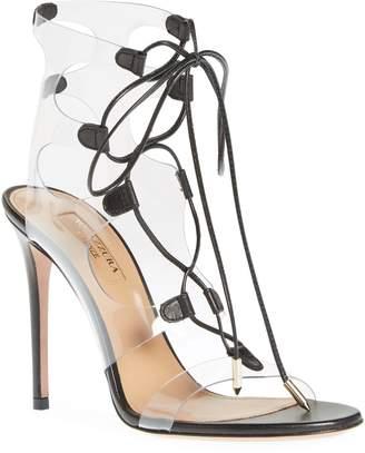 Aquazzura Milos PVC Lace-Up Sandal