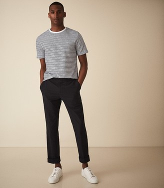 Reiss EXETER STRIPED TOWELLING T-SHIRT White/navy