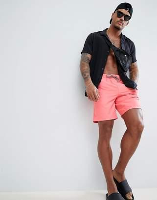 Asos DESIGN Swim Shorts In Pink In Mid Length