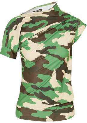 Junya Watanabe Twisted Camouflage-print Jersey Top - Green