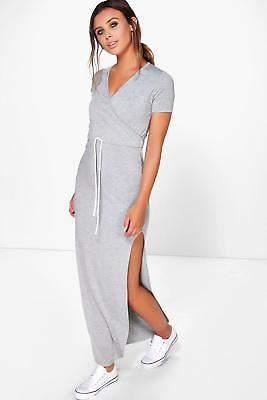 boohoo NEW Womens Petite Wrap Front Drawstring Waist Maxi Dress in Cotton