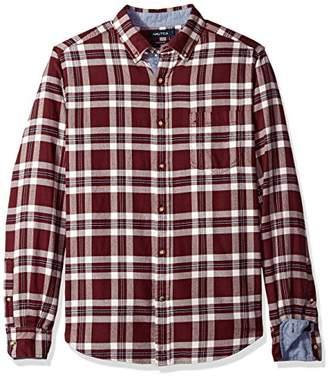 Nautica Men's Long Sleeve Plaid Cozy Flannel Button Down Shirt