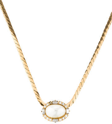 Christian Dior  Christian Dior Pearl & Crystal Pendant Necklace