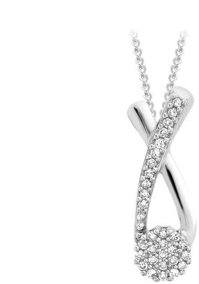 9ct White Gold Diamond Cross Over Pendant