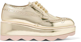 Prada Metallic Leather Platform Brogues - Gold