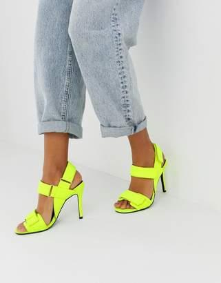 Asos Design DESIGN Hazelnut sporty heeled sandals in neon yellow