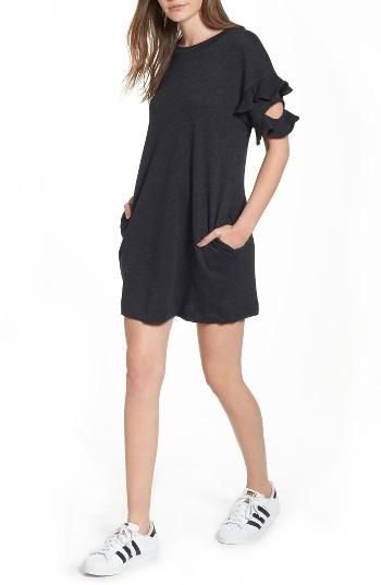 Women's Lush Ruffle Cutout Sweatshirt Dress