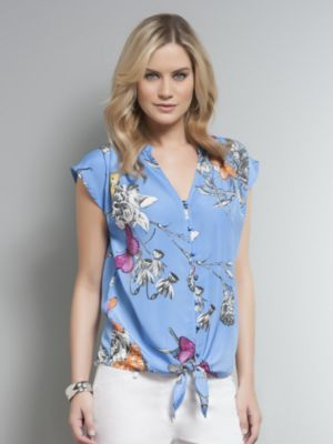Knot-Front Butterfly Print Blouse