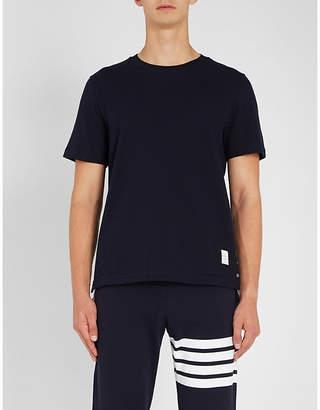 Thom Browne Striped-detail cotton-piqué T-shirt