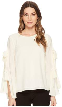 CeCe Long Sleeve Slit Bell Sleeve Blouse w/ Bows Women's Blouse