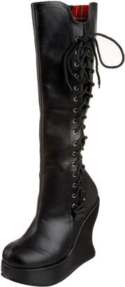Pleaser USA Women's Bravo-100 Faux Lace-Up Platform Wedge Boot