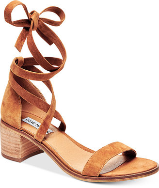 Steve Madden Women's Rizza Lace-Up Block-Heel Sandals $79 thestylecure.com