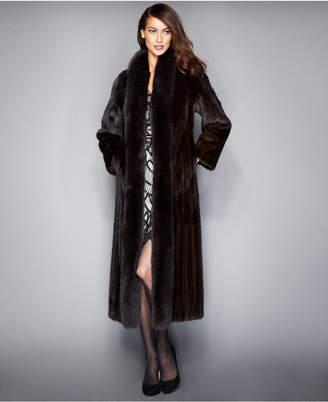 The Fur Vault Fox-Trimmed Mink Maxi Coat