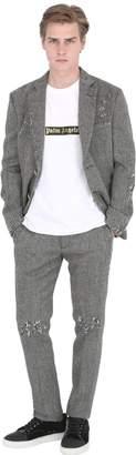 Palm Angels Distressed Wool Herringbone Jacket