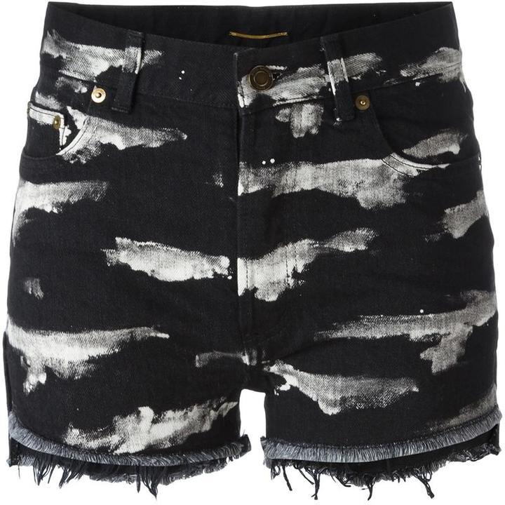 Saint LaurentSaint Laurent tiger stripe bleach denim shorts