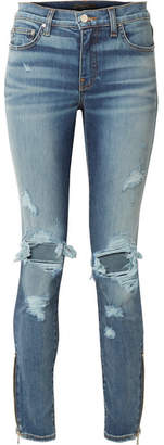 Amiri Thrasher Distressed High-rise Skinny Jeans - Mid denim