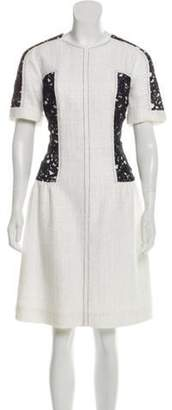 Oscar de la Renta Lace-Paneled Tweed Dress White Lace-Paneled Tweed Dress